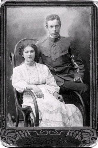 Михаил Иванович Тверитинов с супругой Анной Петровной, урожденной Перовой. 1909 г.