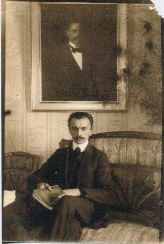 Николай Оскарович Фрейман в гостях у Сергея Андреевича Пырсина. Фото находится в Государственном архиве Рязанской области.