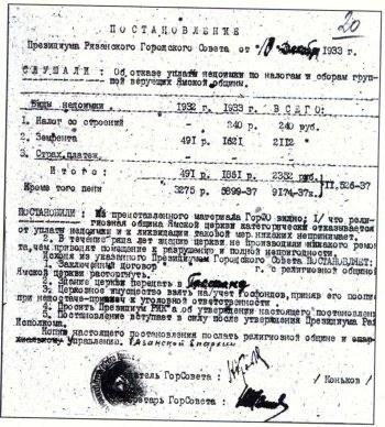 Архивные документы рассказывают о судьбе Николо-Ямского храма в советское время. Из фондов ГАРО