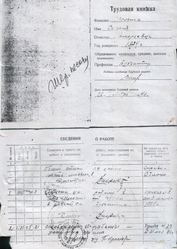 Трудовая книжка Софии Григорьевны Волгиной
