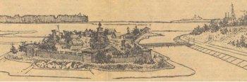 Это место – остров на реке Трубеж, возле Рязанского Кремля – могло стать этнографическим музеем, где была бы  не только ветряная, но  и водяная мельница. Рисунок архитектора В.Сачкова