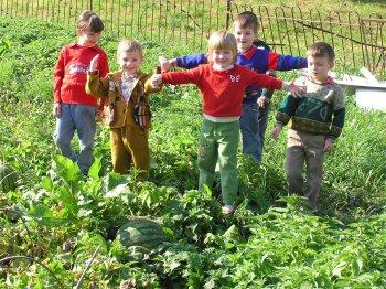 Вот такой большой арбуз вырастили в Шереметьево-Песочинском детском доме в 2005 году. Фото Т.В.Шустовой