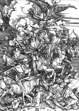 Всадники Апокалипсиса на классической гравюре А. Дюрера.