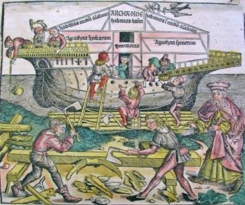 Постройка Ноева ковчега (средневековая миниатюра).
