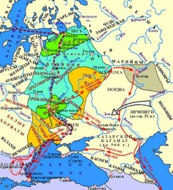 Изображённые на этой карте походы Святослава – не более чем одно из предположений.
