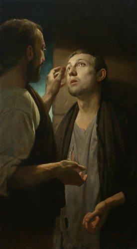 Картина Андрея Миронова. Христос и нищий.