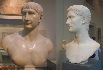 Императоры Траян (слева) и Калигула (справа) – сравним их антропологический тип с…