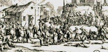 Ж. Калло, гравюра «Разграбление и сожжение деревни» из серии «Большие ужасы войны».