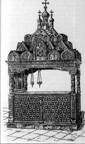 Сень над гробницами Пересвета и Осляби в Рождественско-Богородицком монастыре в Старом Симонове. До 1917 г.