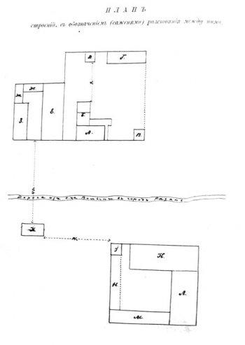 План строений на территории усадьбы Танинской в саженях 1899 года (при И. И. Тверитинове).