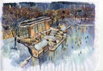 история города в отражении льда