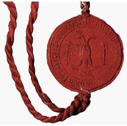 Большая государственная печать Ивана III Великого впервые была выполнена из красного воска, а не из обычного и на ней впервые был изображён наш нынешний герб.