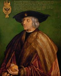 Дюрер был придворным художником Максимилиана I, поэтому не запечатлеть его не мог; правда, портрет получился посмертным – он был закончен в 1519-м году уже после смерти императора.