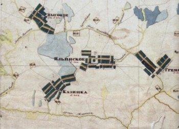 Село Казинка,фрагмент карты Менде, 1850 год.