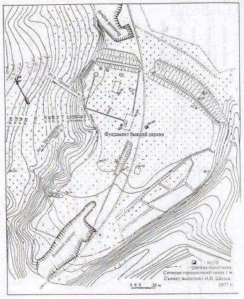 Рис. 4- Топографический план Толпинского городища. Съемка Н.И. Шитова, 1977 г.