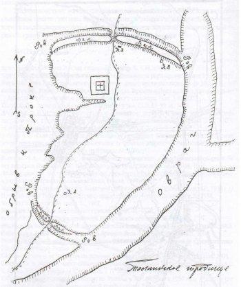 Рис. 2. Глазомерный план Толпинского городища. Съемка О.Н. Бадера, 1928 г.