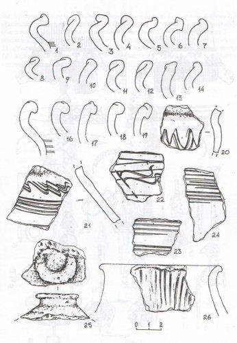 Рис. 7. Толпинское 4 селище. 1-25 - фрагменты гончарной керамики; 26 - фрагмент лепной керамики.