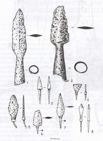Рис. 9- Толпинское городище. 1,2 - железные наконечники копий; 3 - 8 - железные наконечники стрел.