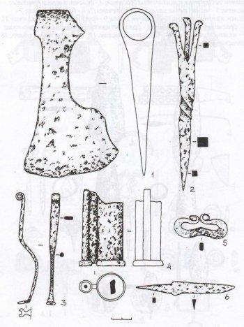 Рис. 10. Толпинское городище. Изделия из железа. 1 - топор; 2 -светец; 3 - ключ; 4 -цилиндрический замок; 5 - кресало; 6 - нож.