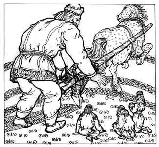 Велес обучает людей (одна из иллюстраций к «Велесовому изводу», 1999 г.).<br /> Здесь и далее в публикации – работы М. ПРЕСНЯКОВА