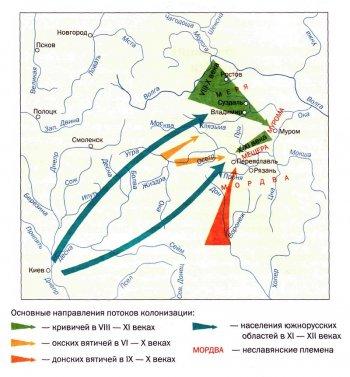 Пути движения восточных славян на территорию нашего края. Репродукция с карты А. Монгайта.