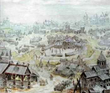 Восточнославянский город. С картины М. Преснякова.