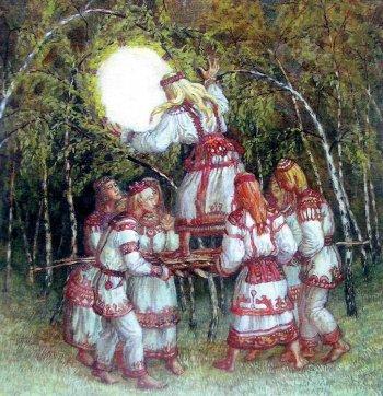 «заглядывание в круг». С картины М. Преснякова.