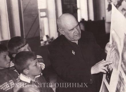 Михайловский историк - краевед Б.И.Катагощин за работой. 1974 год.