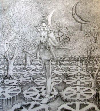 Графический рисунок Алексея Акиндинова к картине