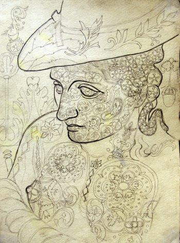 На фото, первый рисунок Акиндинова, выполненный им в стиле орнаментализм -