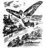 """Летающий рязанец. Рисунок из газеты """"Рабочий клич"""", 1925 г."""