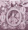 Царевна Софья в окружении семи медальонов с аллегориями добродетелей. Гравюра 1688 года.